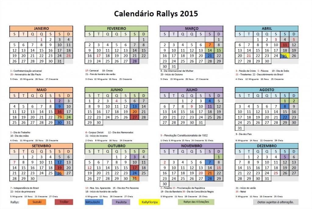 Calendário Rallys 2015